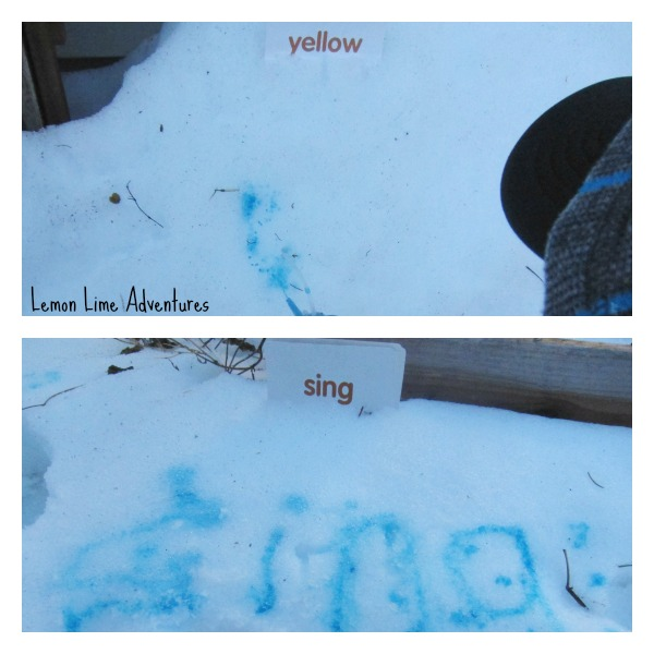 Sight Word Writing in the Snow
