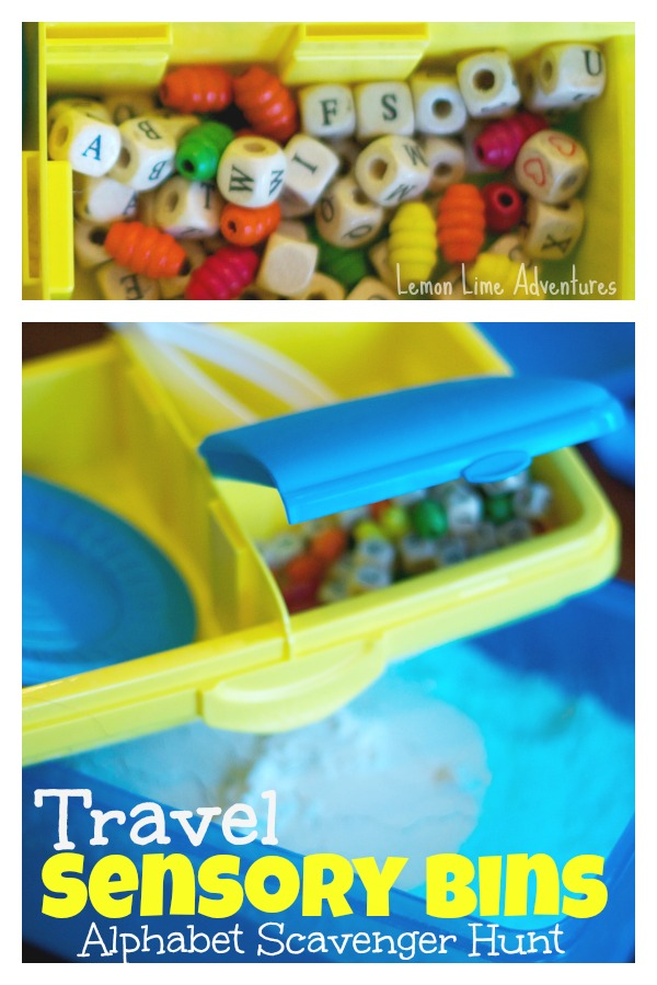 Travel Sensory Bins Alphabet Scavenger Hunt