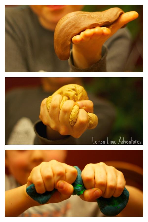 Edible Playdough squeezing