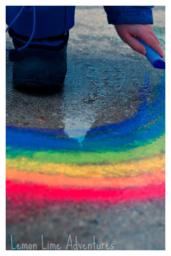 Spring Rainbows Sidewalk Chalk Art