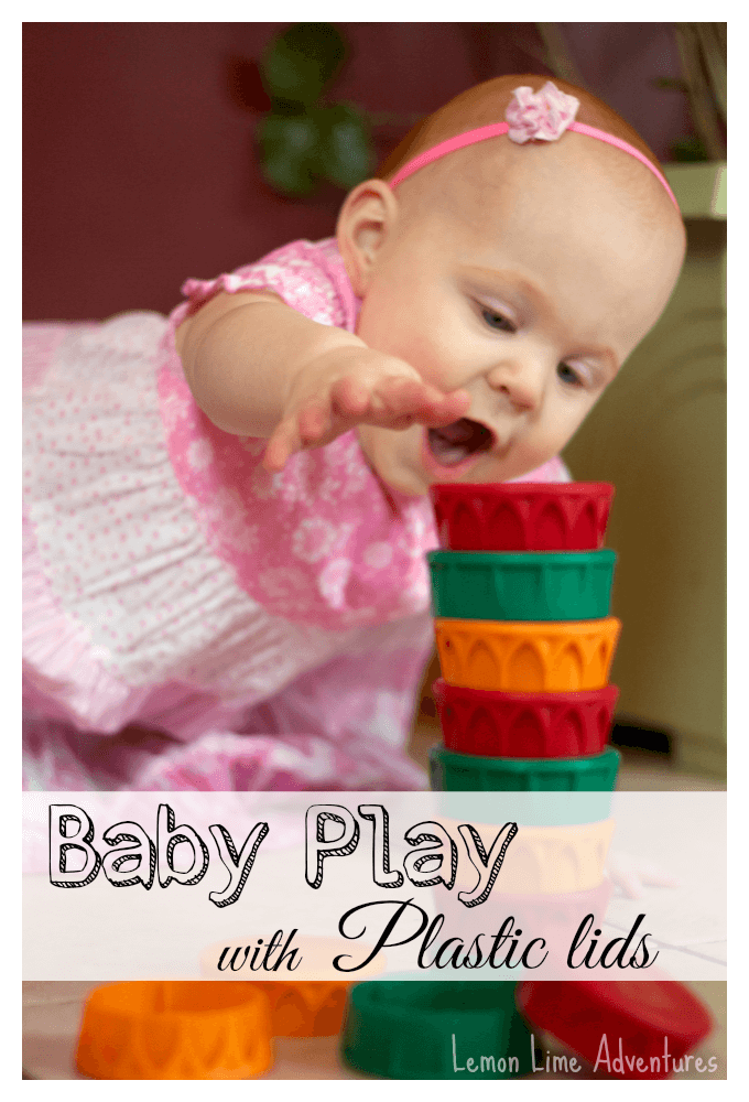 Baby Play with Recycled Plastic Lids