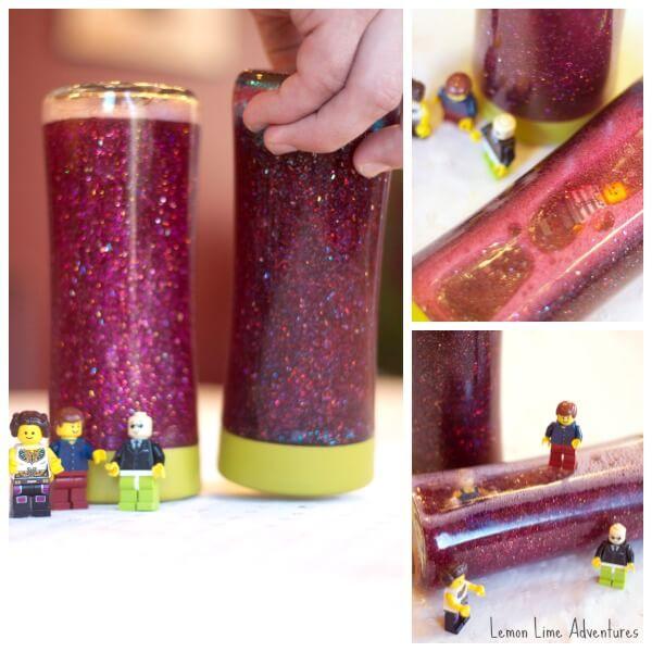 Lego Calm Down Jar with lego