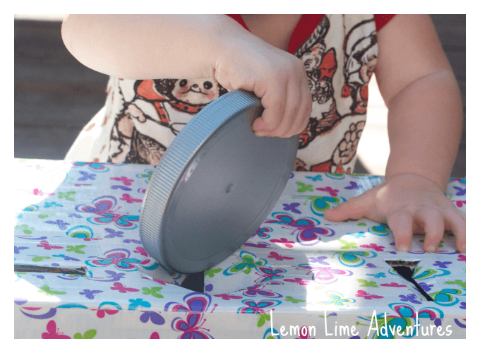 Fine Motor Play with Lids Shape Sorter