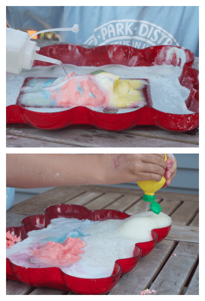 sensory play with fizzy dough