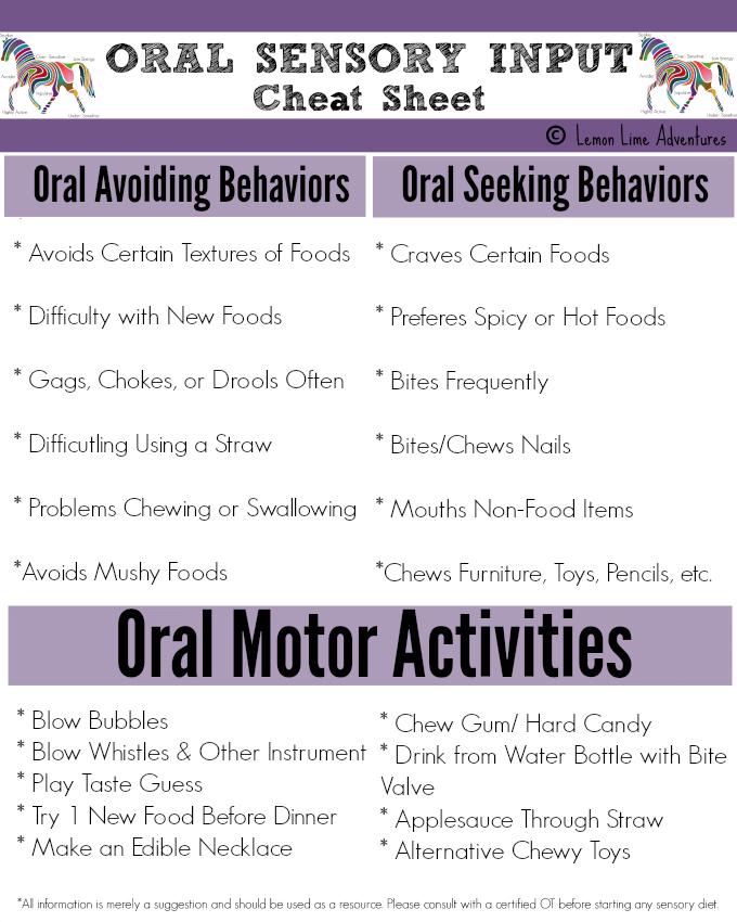 Oral Sensory Input Cheat Sheet
