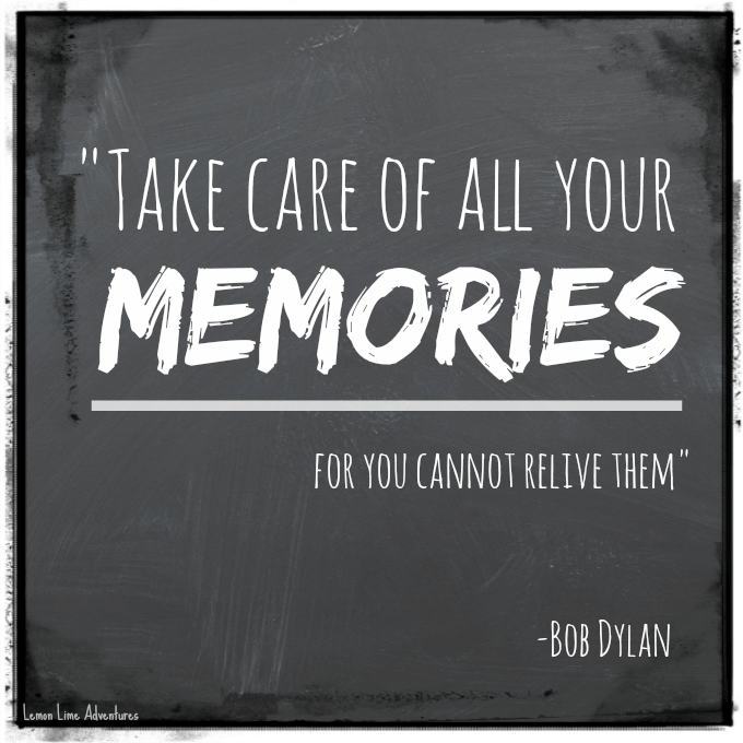 Take care of all your memories... for you cannot relive them