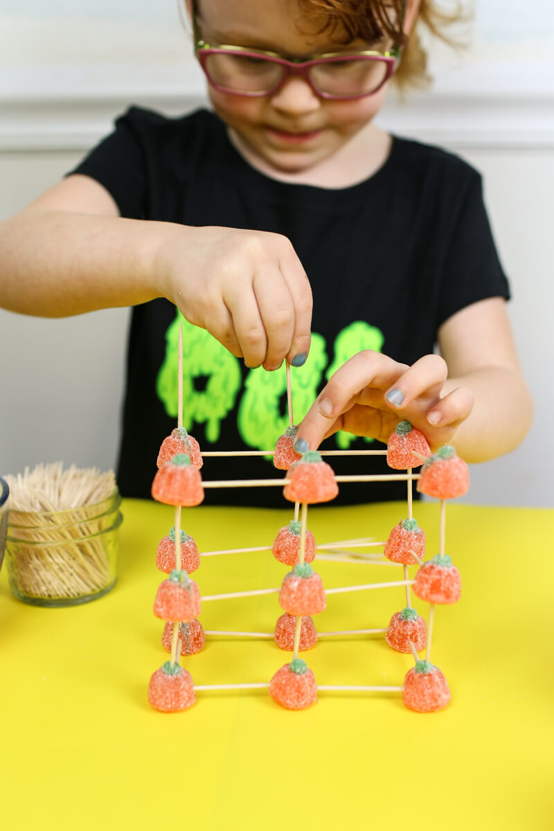 Building with Candy Pumpkins STEM Challenge for Fall
