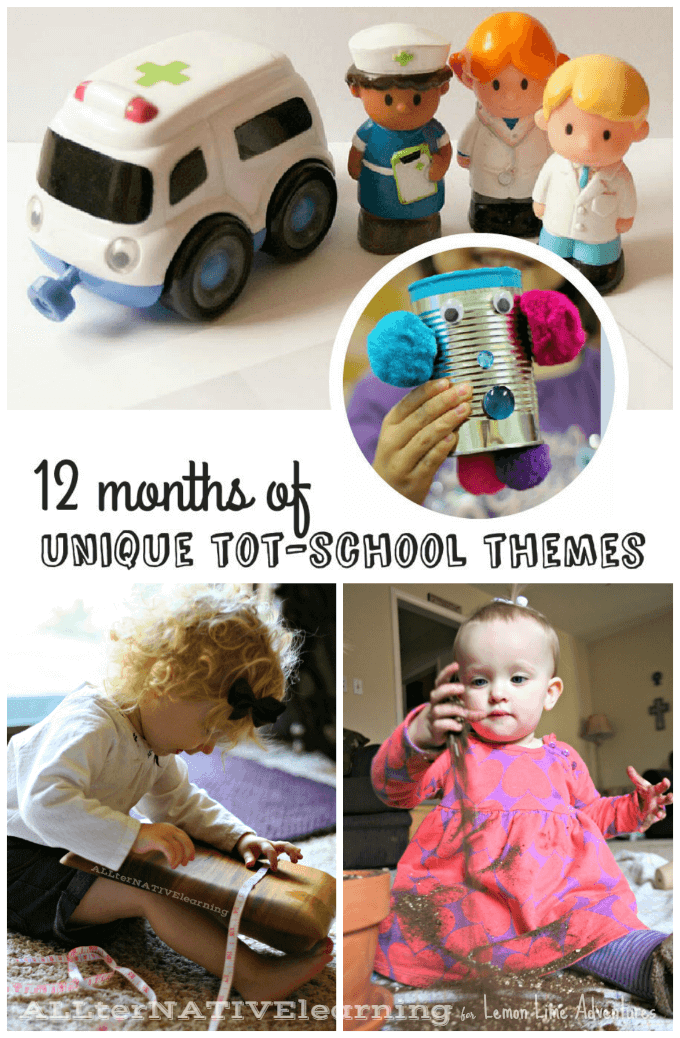 12 months of unique tot school themes