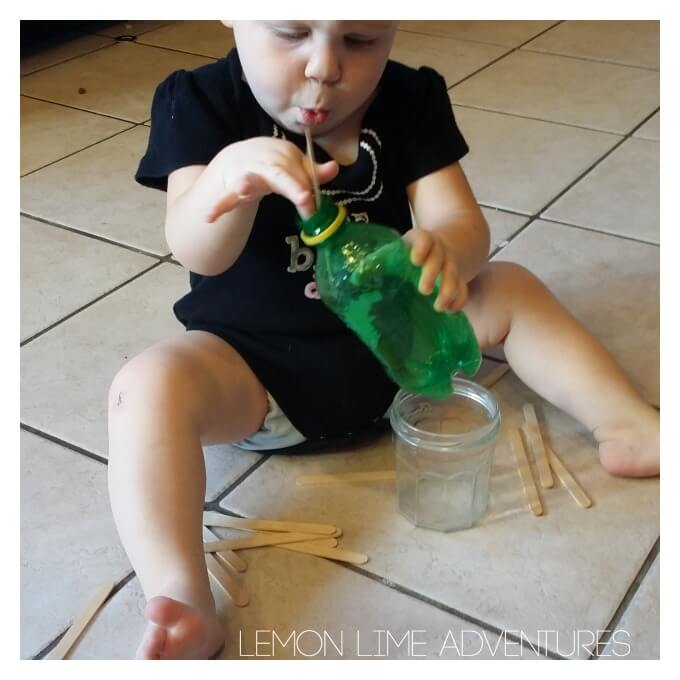 Toddler Activity with Popsicle Sticks