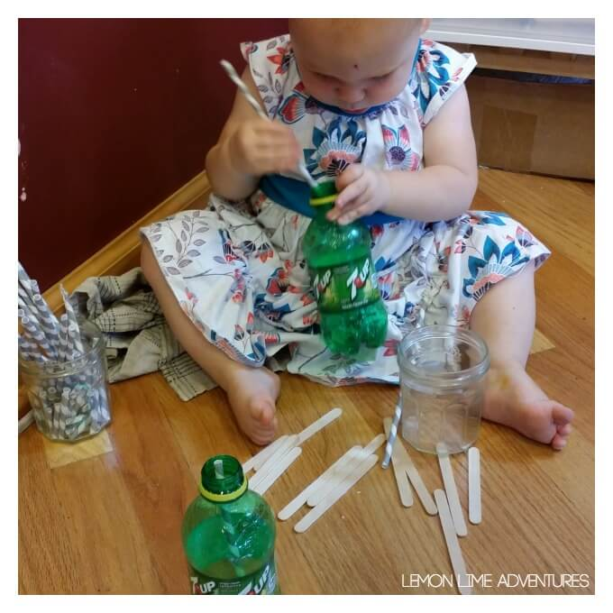 Toddler Activity with Straws