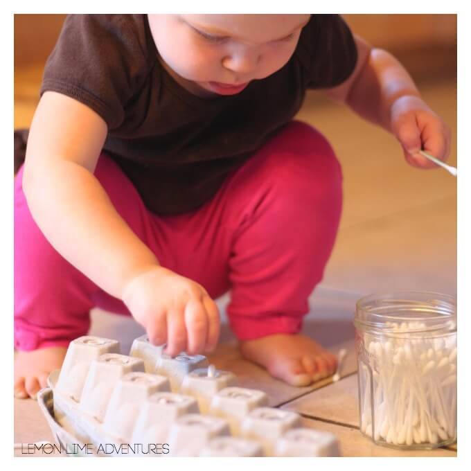 Toddler Play with Qtips