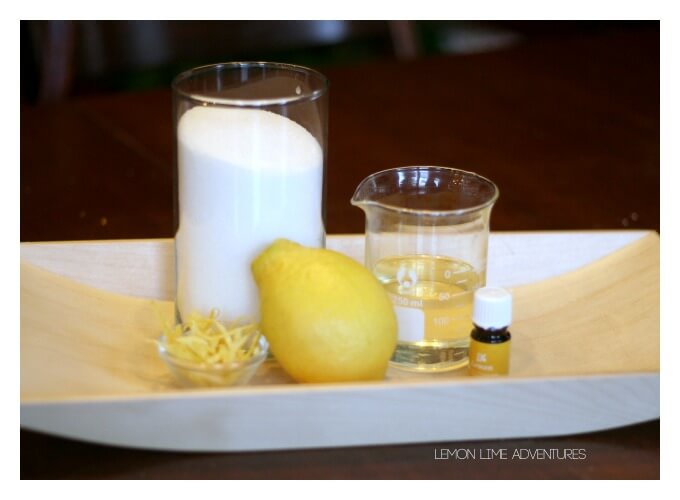 Lemon Sugar Scrub for Morning Energy with Essential Oils