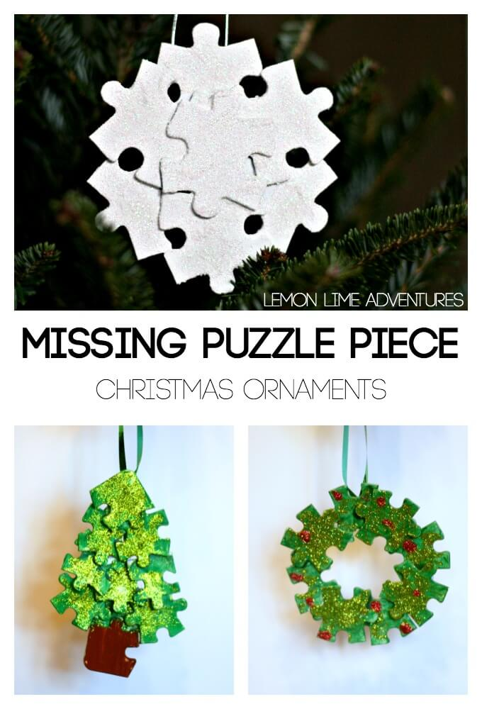 the missing piece recycled puzzle ornaments. Black Bedroom Furniture Sets. Home Design Ideas