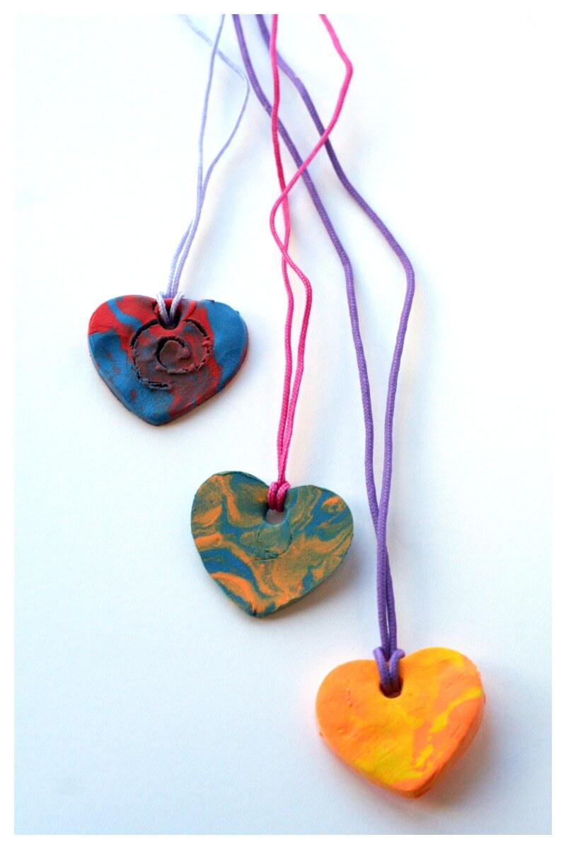 Heart Pendant for kid made valentines day necklaces