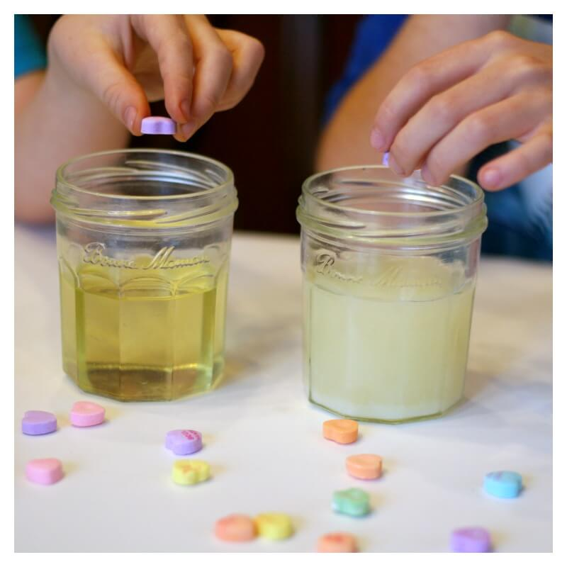 What happens to Candy Hearts in Different Liquids