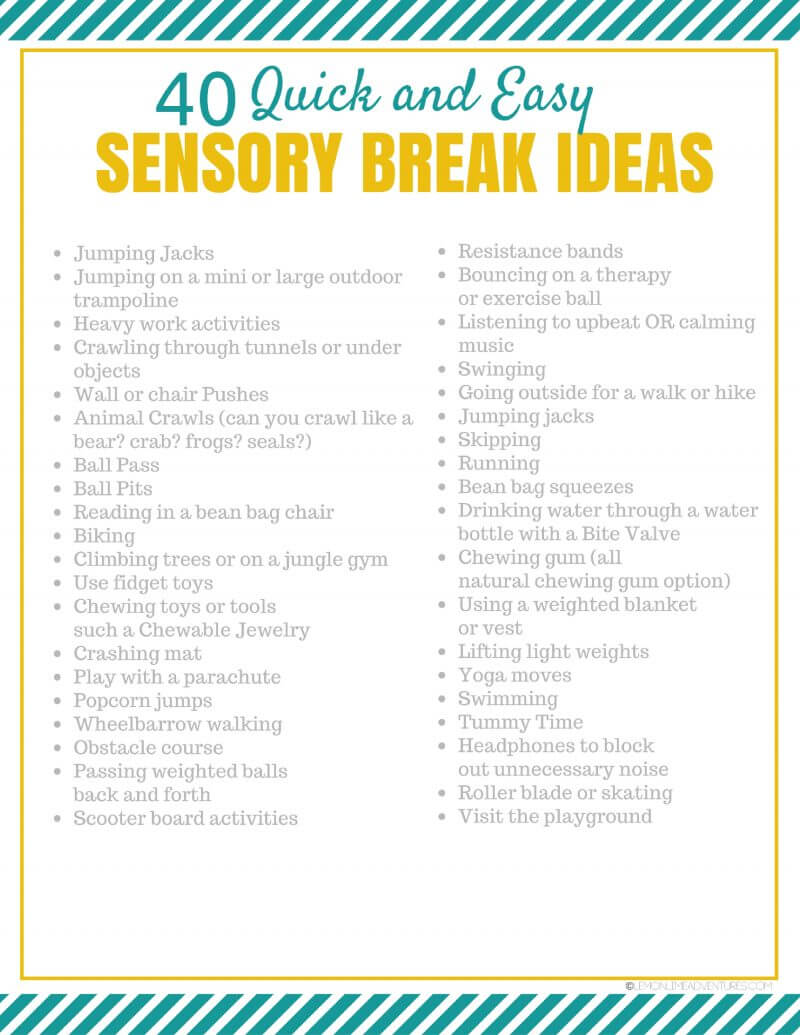 40 Simple Sensory Break Ideas