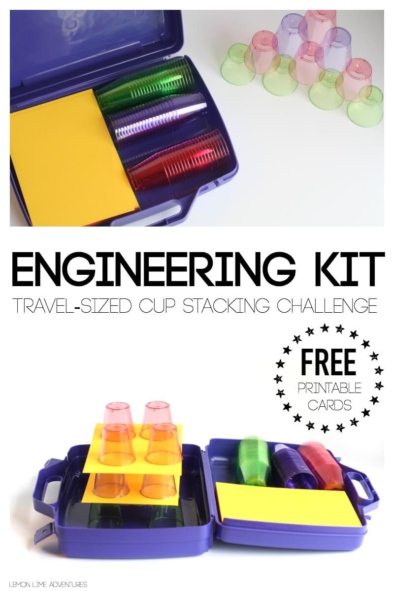 Travel Engineering Kit for Kids Cup Stacking Challenge