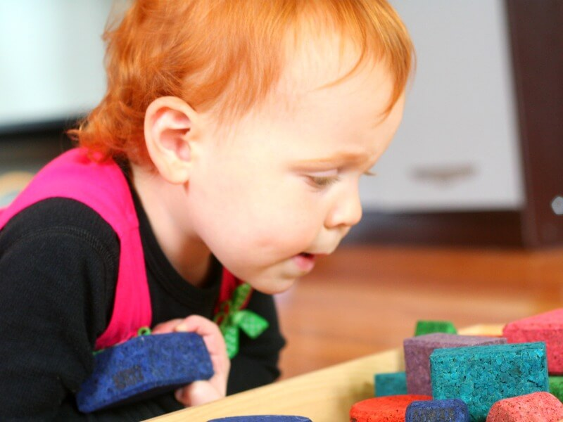 investigating blocks with toddlers