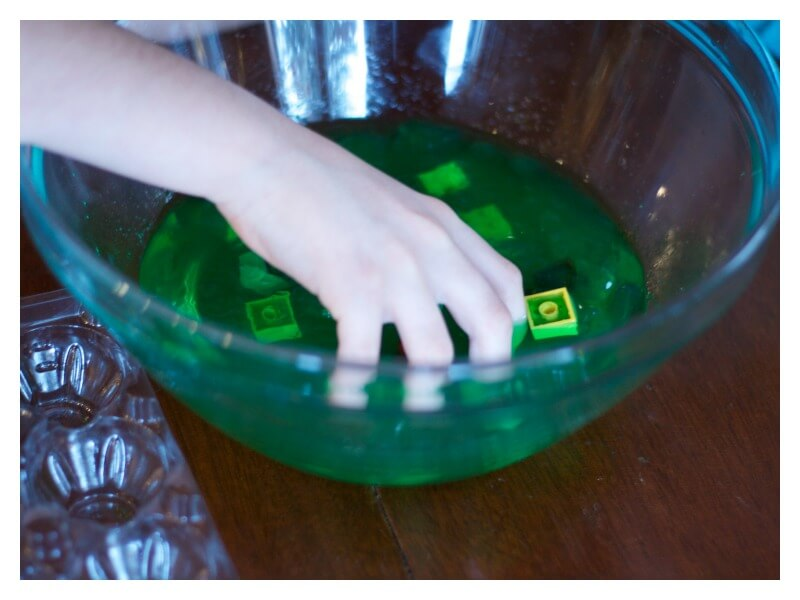 sensory play in jello