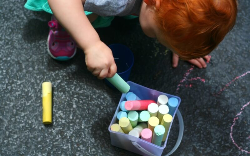 Simple Toddler Games with Chalk