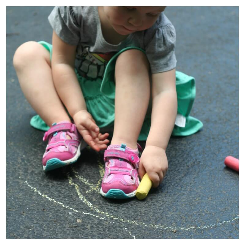 Trace the Shoe Chalk Game for Toddlers