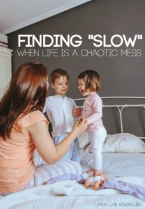 Finding Slow Moments when life is a chaotic mess