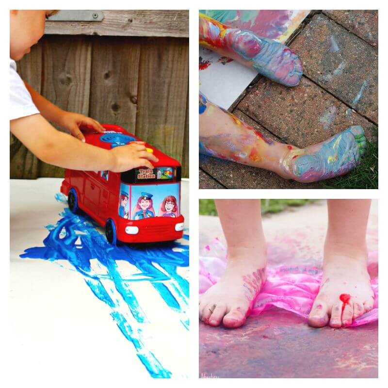 Messy painting Activities with Feet