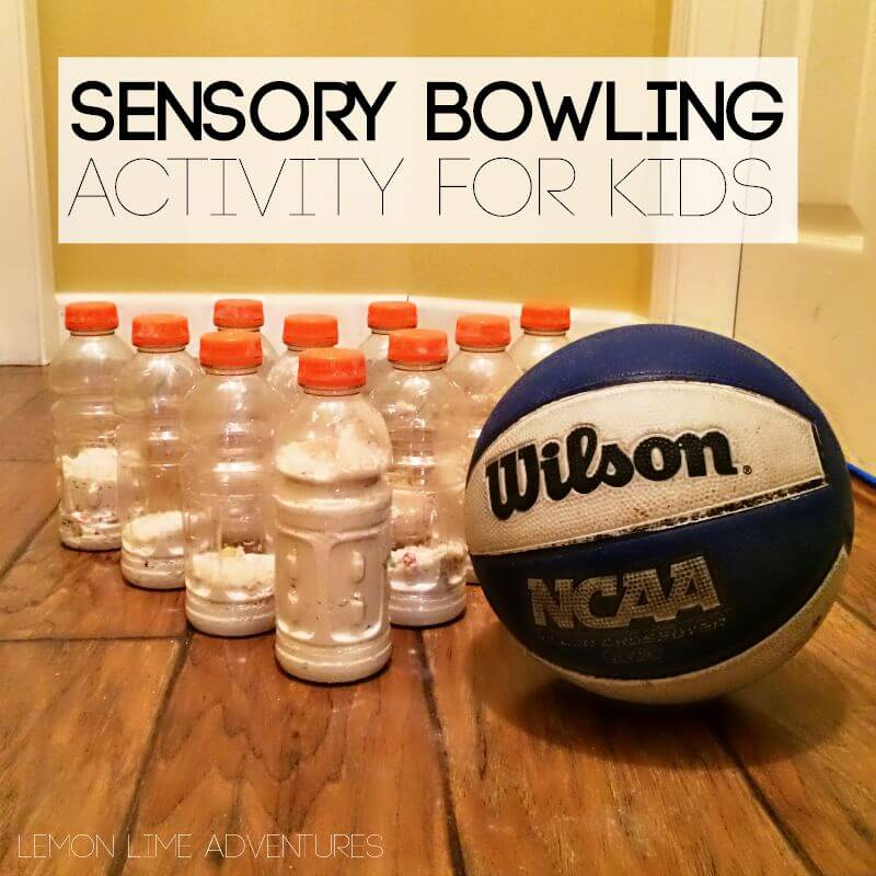 Awesome sensory bowling activity for kids.