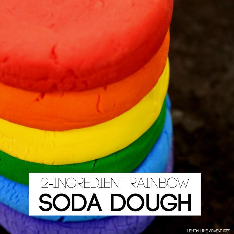 2 Ingredient Rainbow Soda Dough Modeling Clay