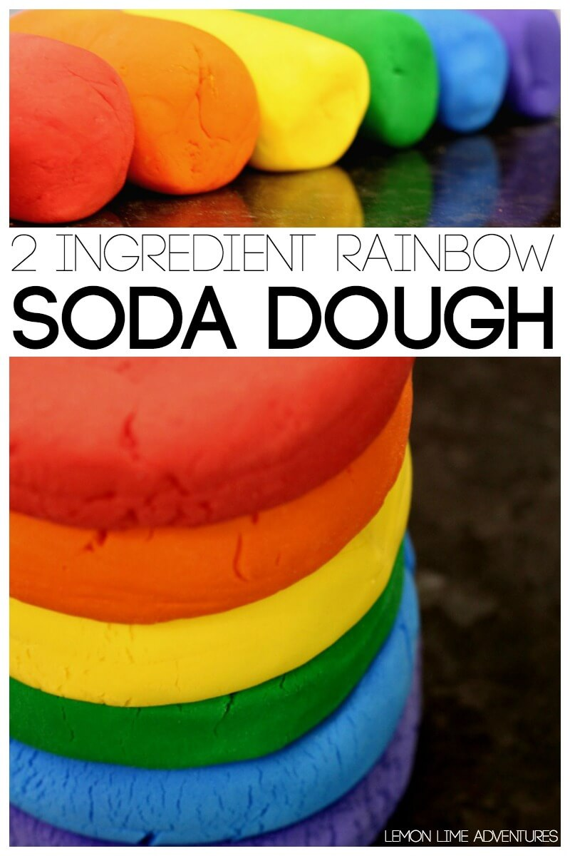 2 Ingredient Rainbow Soda Dough
