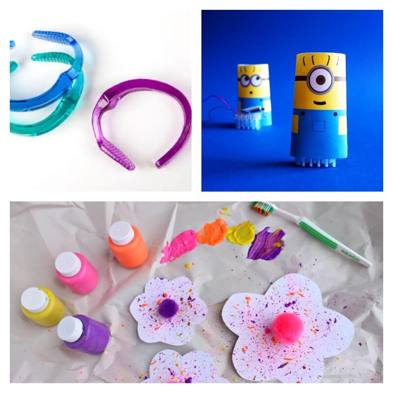 Recycled Crafts Using toothbrushes