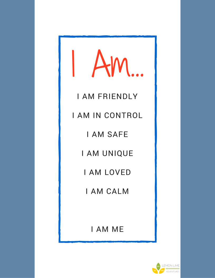 I Am Calm Printable Affirmations to help Kids Calm Down