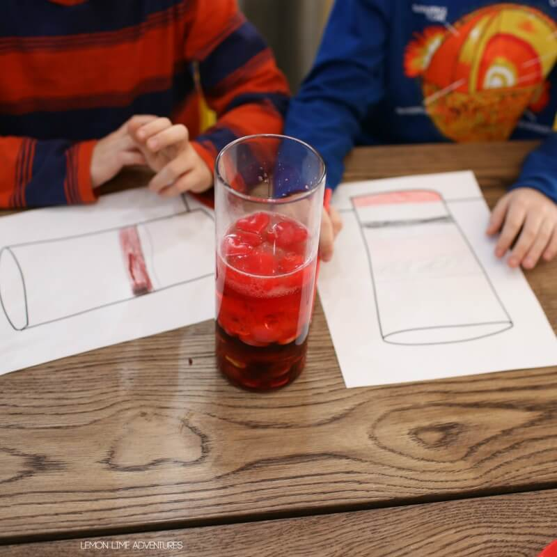 Observing density jar experiment