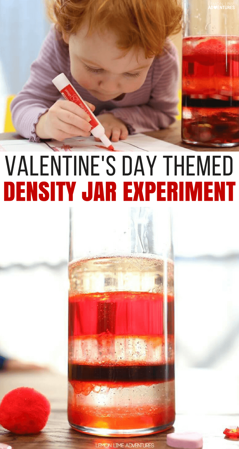 Super Fun Valentine's Day Themed Density Jar Experiment for Kids #sensoryactivity #ValentinesDay #DensityJar #ScienceExperiment #ScienceforKids #ScienceFair