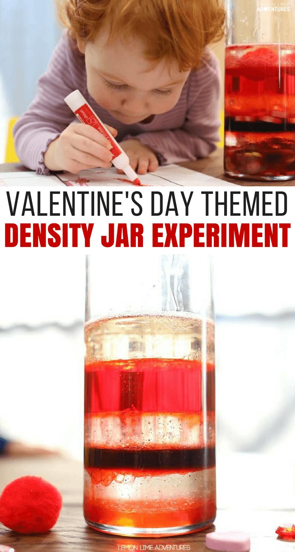 Super Fun Valentine's Day Themed Density Jar Experiment for Kids #sensoryactivity #ValentinesDay #DensityJar #ScienceExperiment #ScienceforKids #ScienceFair