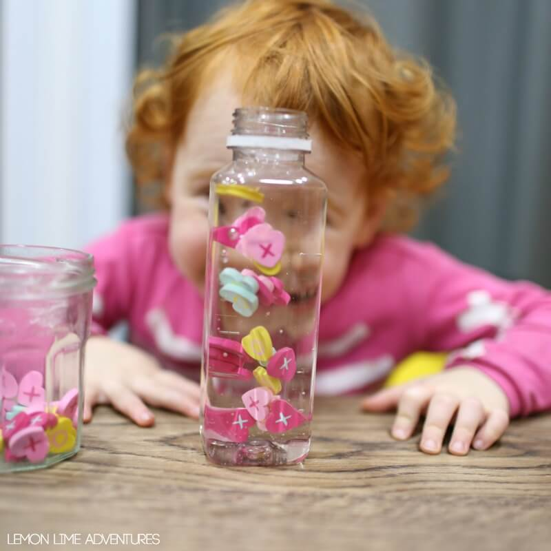Suspended Hearts Sensory Bottle