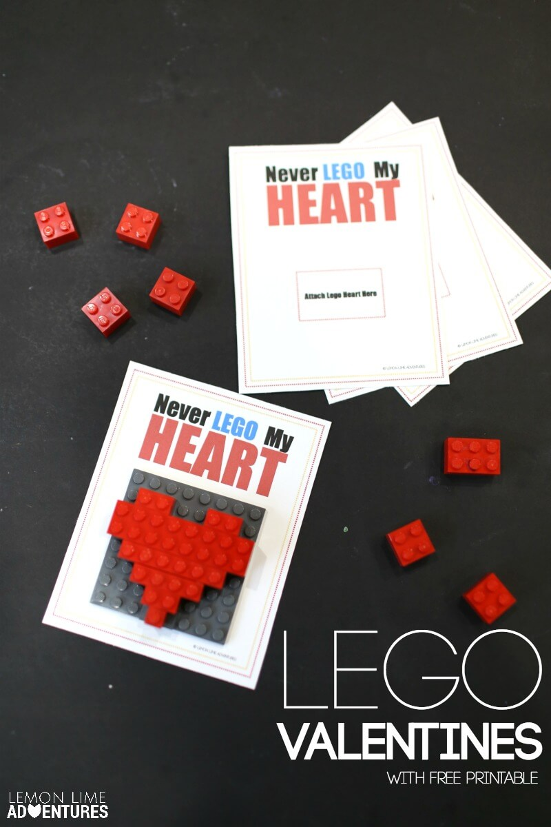 Lego Valentines with Free Printable Cards