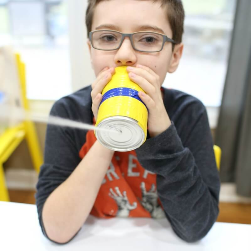 Making DIY Can Telephones with kids