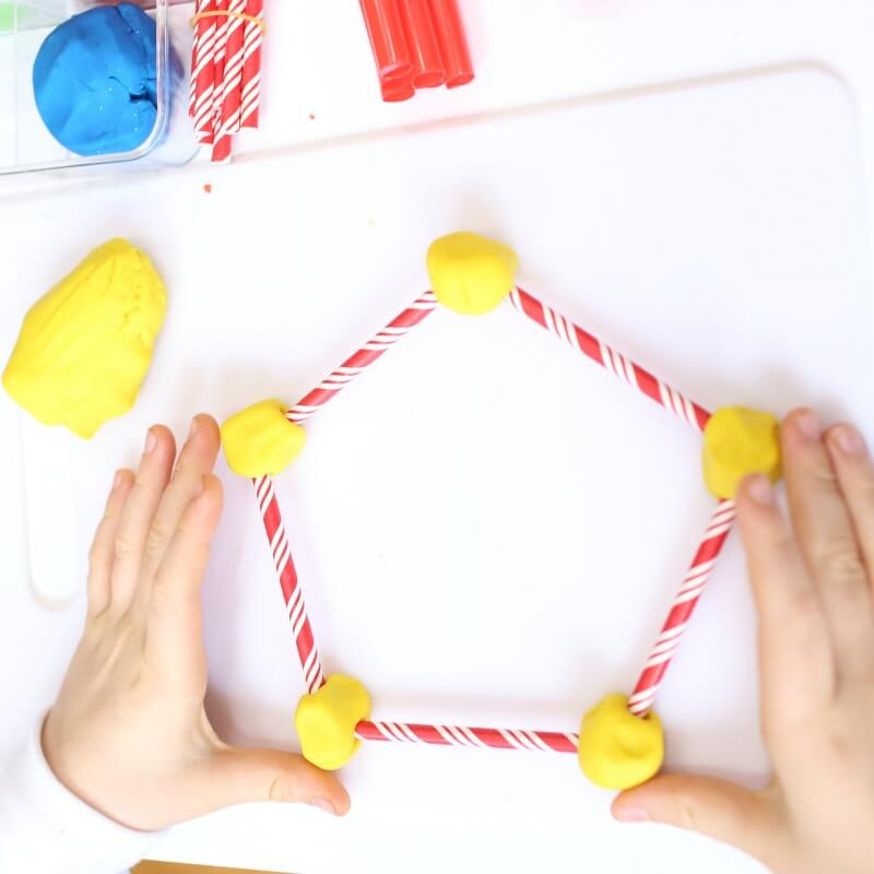 Making Shapes with Playdough and Straws