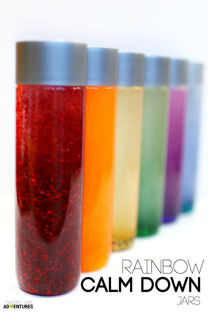 Rainbow Calm Down Jars