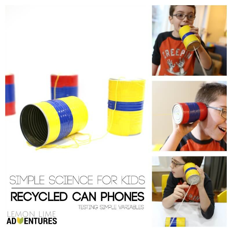 Testing Variables with Recycled Can Phones for Kids