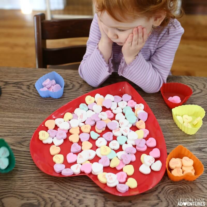 Toddler Conversation Heart Sorting