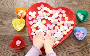 Sorting Conversation Hearts | Quick Toddler Activities