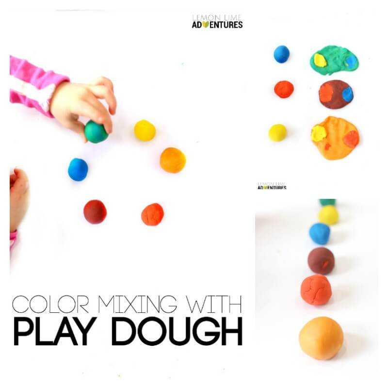 Color Mixing Activity with Play Dough