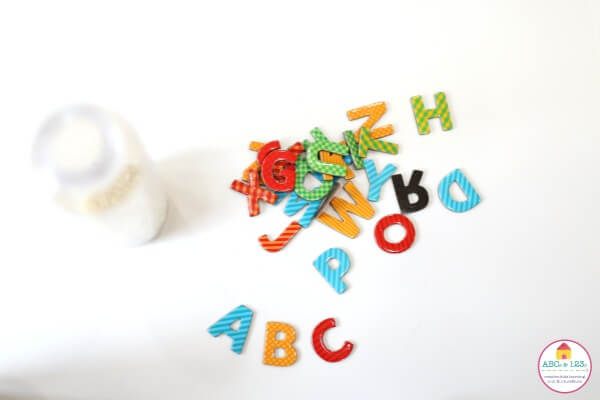 Filling ABC Ispy Jar