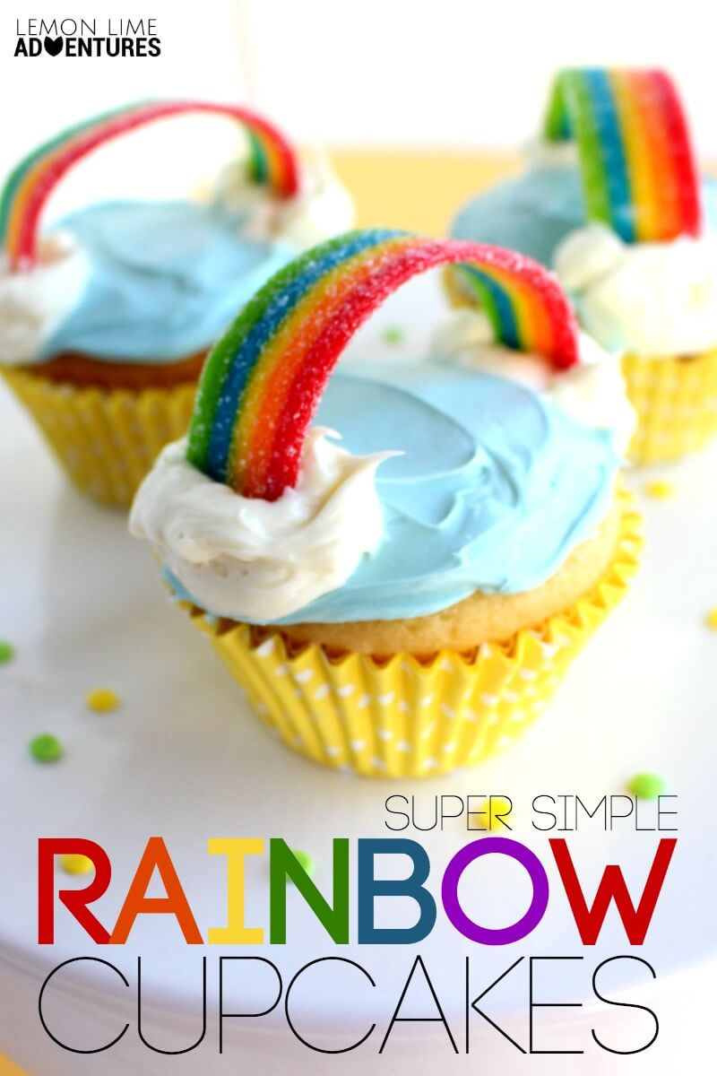 totally awesome and simple rainbow cupcakes