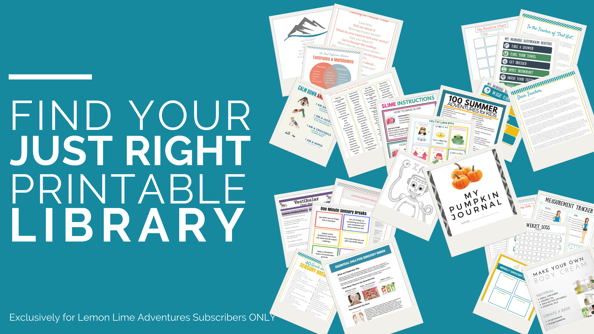 Get the exclusive, just-right for you printable library from Lemon Lime Adventures!