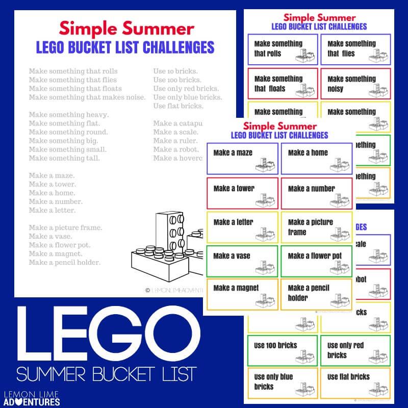 LEGO Summer Bucket List Printable