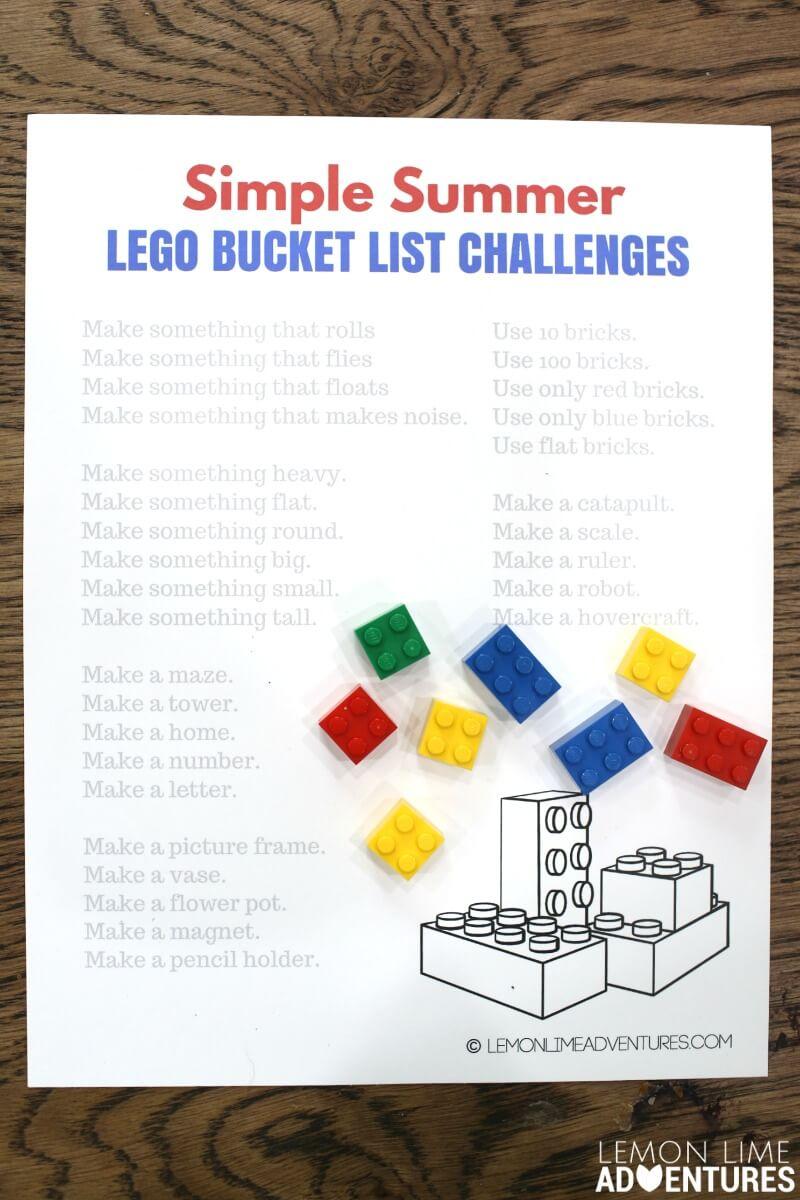 Simple Summer lego bucket list challenges