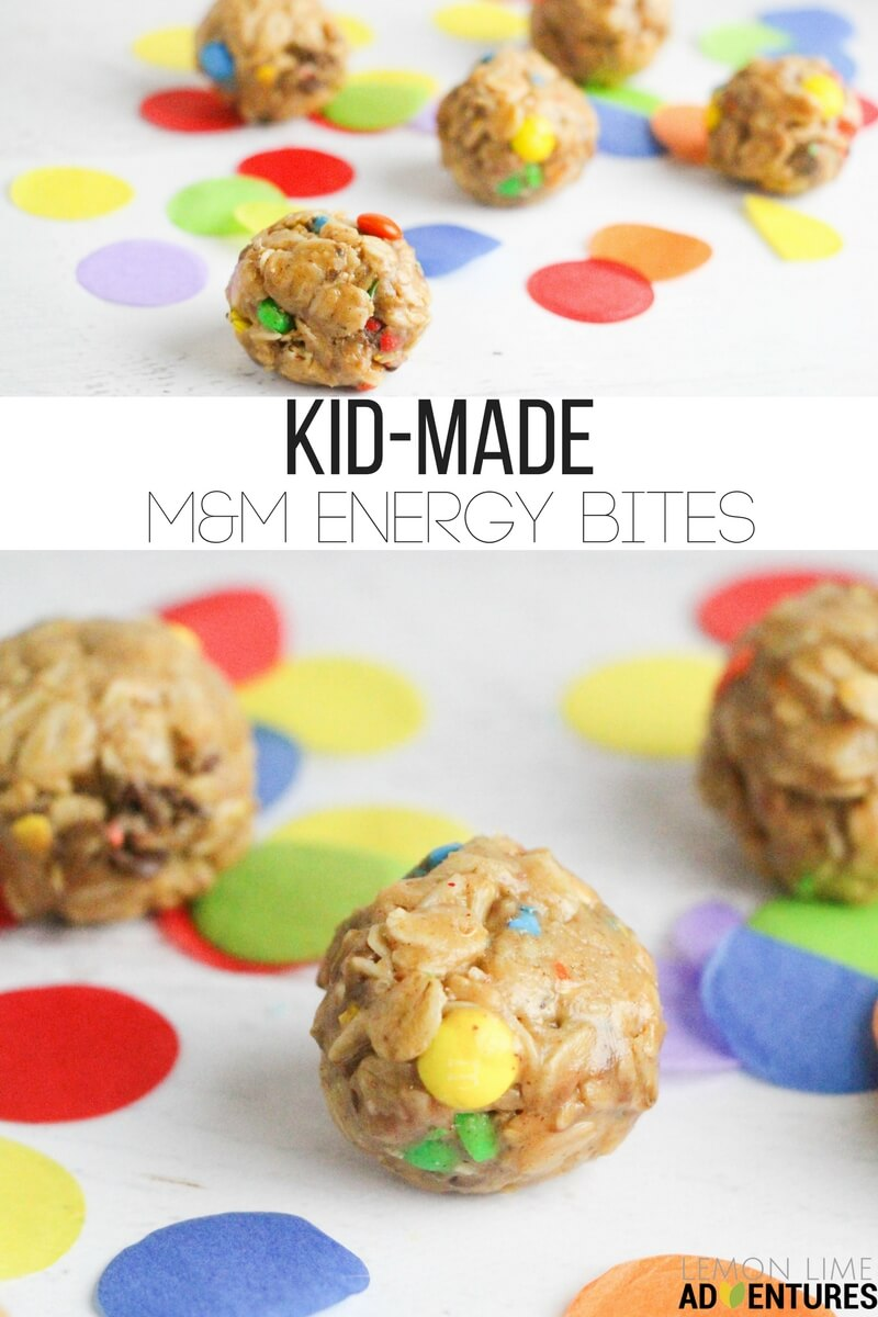 Super-simple, no-bake M&M Energy Bites that kids can help make